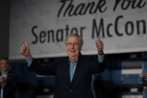 Senate Majority Leader Mitch McConnell speaks about hemp at GenCanna event in Winchester (Photo: Business Wire)