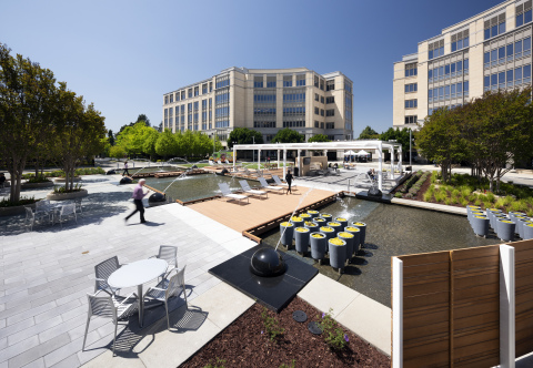 The addition of a new central courtyard event area encompassing an expansive water feature has helped Columbia Property Trust maintain strong demand at University Circle, a three-building office complex in Silicon Valley. Photo by Jeff Peters.