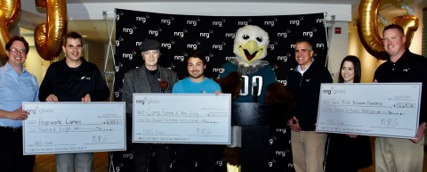NRG awarded three New Jersey-based nonprofits $65,000 in donations through the NRG Gives campaign at Lincoln Financial Field in Philadelphia on Tuesday, October 29th, 2019.  (Left to Right): Dan Rhoton, Executive Director, Hopeworks Camden; Dave Schrader, NRG; Billy Malone, Board Chair, Camp Fatima of New Jersey; Conor Gallagher, NRG; Eagles Mascot Swoop; Mike Starck, NRG Vice President and General Manager, Retail East Division; Lauren Miller, Executive Director, Tara Miller Melanoma Foundation; and Sean Feeley, NRG.