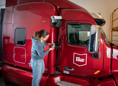 Ouster OS1 mounted on the Ike automated trucking prototype (Photo: Business Wire)