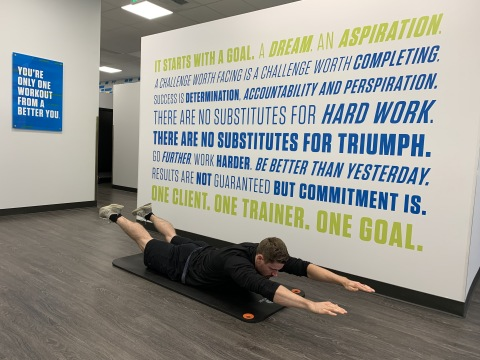 """Fitness Together lead personal trainer, James Mingle, demonstrates how to prevent """"scary injuries"""" when working out. (Photo: Business Wire)"""