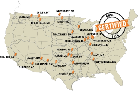 BNSF network map of the 24 certified sites (Photo: Business Wire)