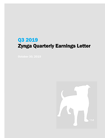 Q3 2019 Zynga Quarterly Earnings Letter