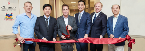 Ribbon-cutting photo (from left): ViewSonic Chief Technology Officer Craig Scott and ViewSonic Founder James Chu; CGU President Len Jessup; Acer's Maverick Shih; CGU Trustee Chair Tim Kirley; and CGU Trustee Wen Chang (Photo: Business Wire)