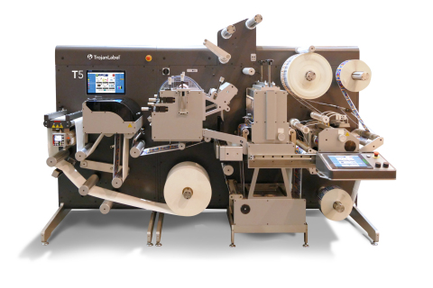 The TrojanLabel T5 is built on AstroNova's industry-leading TrojanLabel T3 Digital Inkjet Label Press platform, integrated with a smart, compact converter unit featuring UV flexo varnish, lamination, rotary die-cutting, slitting, and waste removal. (Photo: Business Wire)