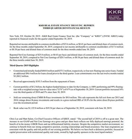 3Q19 KREF Earnings Release