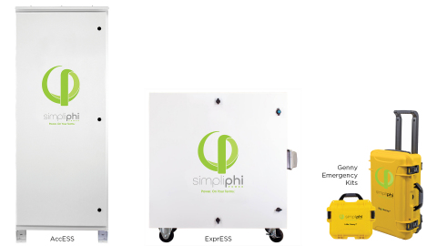 As part of its Energize California PSPS and wildfire initiative, SimpliPhi Power is offering California home and business owners special discounts on the fully integrated AccESS energy storage and management system, ExprESS fuel-free mobile generators and Genny portable emergency power kits (Graphic: Business Wire)