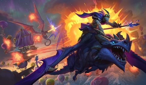 Descent of Dragons, the epic conclusion to Hearthstone's first-ever year-long story line, will arm players with draconic firepower—including the ability to transform into Galakrond, the mightiest dragon in Warcraft® history. (Graphic: Business Wire)