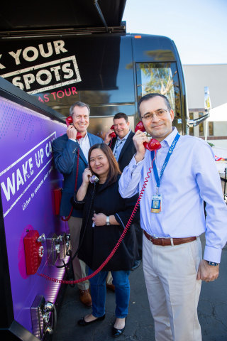 Cubic executives participate in the interactive bus tour. (Photo: Business Wire)
