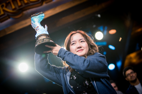 "China's VKLiooon handily eliminated USA's Brian ""bloodyface"" Eason, becoming the first woman to both compete in and win a Hearthstone championship event. (Photo: Business Wire)"