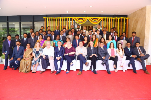 Pete Yonkman, President and John Kamstra, Chief Financial Officer of Cook Group and Cook Medical (both in the middle front) celebrates the best-in-class office opening in Chennai with the India team and other executives. (Photo: Business Wire)