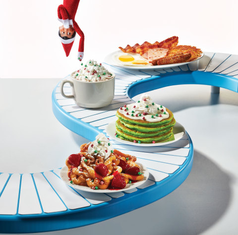The Elf on the Shelf® menu is available now through January 1, and includes Jolly Cakes, Oh What Funnel Cakes, a Holiday Ham & Sausage Omelette, Merry Marshmallow Hot Chocolate and a Little Elves Combo for the littlest holiday helpers. (Photo: Business Wire)