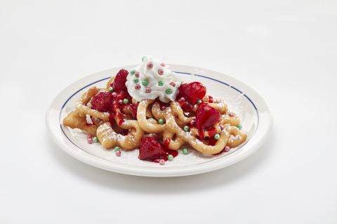 Oh What Funnel Cakes are made with two golden, crispy funnel cakes, lightly dusted with powdered sugar and topped with glazed strawberries, whipped topping and shimmery elf sprinkles. (Photo: Business Wire)
