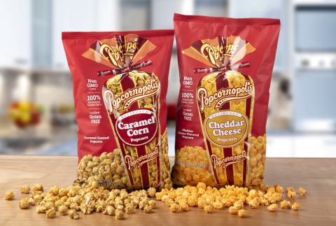 Popcornopolis mouthwatering 22oz bag of Caramel Corn and the 14oz bag of Cheddar Cheese Popcorn will be available at Sam's Club locations across the country. (Photo: Business Wire)