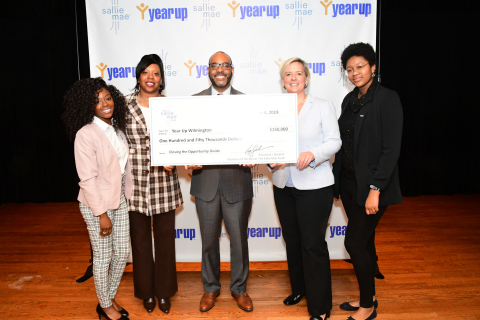 Cinitae Savage, Year Up intern, Sallie Mae (L); Rysheema Dixon, member at-large, Wilmington City Council; Hassan Charles, executive director Year Up Greater Philadelphia and Wilmington; Bonnie Rumbold, senior vice president and chief human resources officer, Sallie Mae; Lexus Banton, Year Up intern, Sallie Mae (R) celebrate Year Up's workforce development programs with a $150,000 check presentation held at Wilmington University. (Photo: Business Wire)