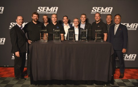 SEMA announced its Vehicles of the Year the evening before the official start of the 2019 SEMA Show. From left to right: Tim Martin, SEMA Chairman of the Board; Pat McArdle, RZR Product Planning Director; Chris Kersting, SEMA President and CEO; Mark Bosanac, Head of Mopar; Ian Avilla, Audi Senior Manager Accessories & Collection; Tim Herrick, GM Vice President Global Product Programs; Hugh Milne, Marketing Manager, Silverado; Todd Hoevener, Ford Director, Advanced Strategy & Planning; Mike Spagnola, SEMA VP of OEM and Product Development Programs; Wade Kawasaki, SEMA Immediate Past Chairman/Secretary. (Photo: Business Wire)