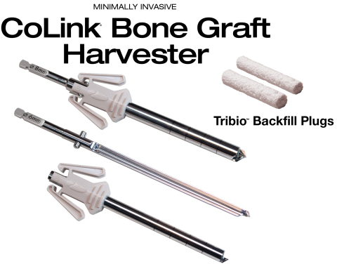 The CoLink® Bone Graft Harvester and Tribio™ Backfill Plug combination enables surgeons to rapidly harvest autograft through a small incision, and provides patients with an innovative, bioactive implant solution to backfill surgical voids. (Photo: Business Wire)