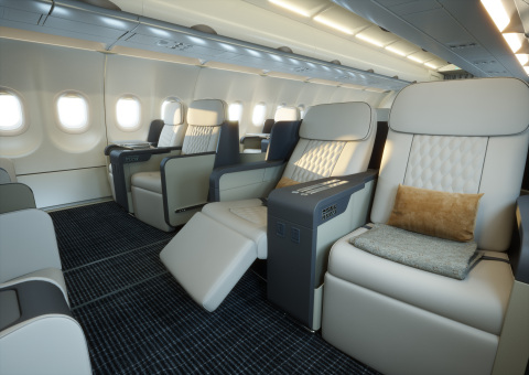 The interior of TCS World Travel's new Airbus A321LR was designed to evoke a calming oasis. (Photo: Business Wire)