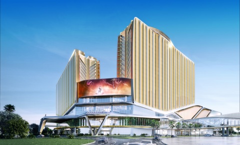 Exterior rendering of Andaz Macau, expected to open in the first half of 2021 alongside Asia's iconic and advanced MICE destination Galaxy International Convention Center (GICC) and events venue Galaxy Arena. (Photo: Business Wire)