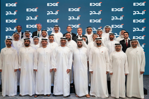 His Highness Sheikh Mohamed Bin Zayed Al Nahyan with the CEOs of the newly announced UAE Advanced Technology Company, EDGE (Photo: AETOSWire)