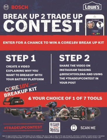 """Bosch Power Tools' """"Break Up 2 Trade Up"""" contest runs Nov. 5-21 and is open to U.S. residents who are 18 years old or older. (Graphic: Business Wire)"""
