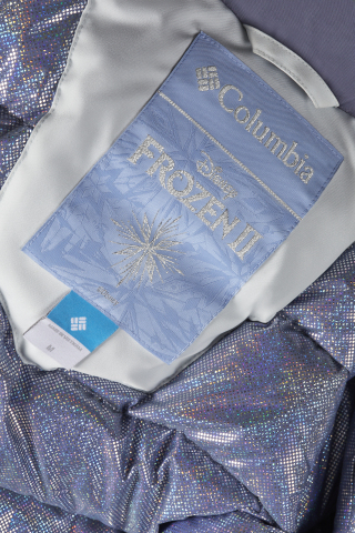 A close-up shot of the embroidered tag and holographic Omni-Heat lining on the Elsa Long Down Jacket. (Photo: Business Wire)