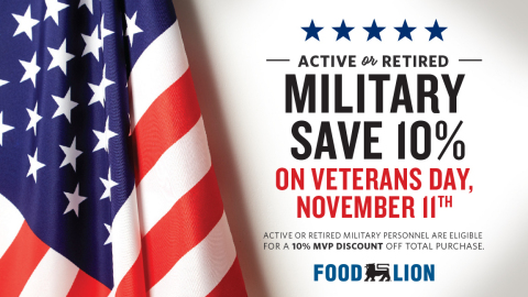 In honor of Veterans Day, Food Lion stores will offer a 10 percent discount on Monday, Nov. 11, to active and retired military personnel to show its appreciation for neighbors who are serving or have served in the United States Armed Forces. (Photo: Business Wire)