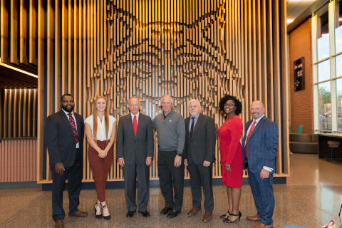 Thomas Harris, U of Arizona Assist. Athletics Director for Diversity, Inclusion, and Engagement, Jessy Forelli, Honors College Class of 2020, Dr. Larry Edward Penley, Arizona Board of Regents Chair, Dr. Robert C. Robbins, U of Arizona President, Dr. Terry L. Hunt, Honors College Dean, Dr. Cheree Meeks, Senior Director, First Year Experience Honors College, Bill Bayless, American Campus Communities CEO. (Photo: Business Wire)