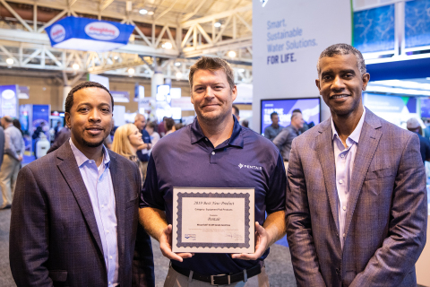 """Pentair accepts the """"Best New Product - Equipment Pad"""" award at the 2019 PSP Expo. Pictured L to R: Marcus Phillips, Ryan Weaver and De'Mon Wiggins. (Photo: Business Wire)"""