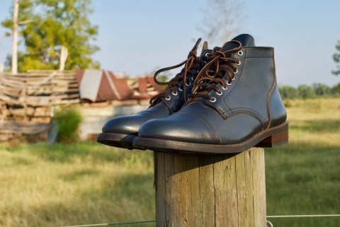 The Thursday Indigo Vanguard - the first release of the Thursday Boot Company's Single Herd line - photographed on-site at White Oak Pastures in Bluffton, GA. (Photo: White Oak Pastures)