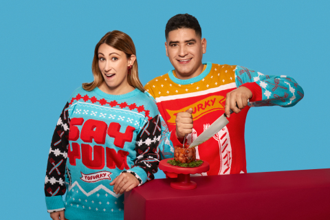 Tofurky Debuts Limited-Edition Ugly Christmas Sweaters to Celebrate Roast Anniversary (Photo: Business Wire)