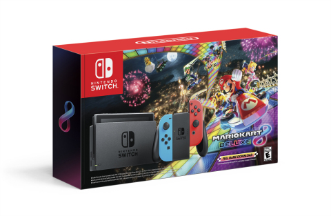 Starting on Nov. 28, select retailers will offer a bundle, which includes a Nintendo Switch system and a download code for the Mario Kart 8 Deluxe game, at a suggested retail price of only $299.99. (Photo: Business Wire)