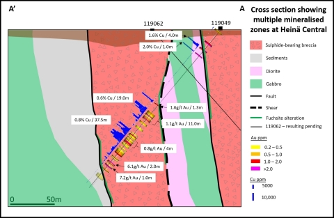 Cross section showing copper and gold mineralisation in drill hole 119049 (Photo: Business Wire)