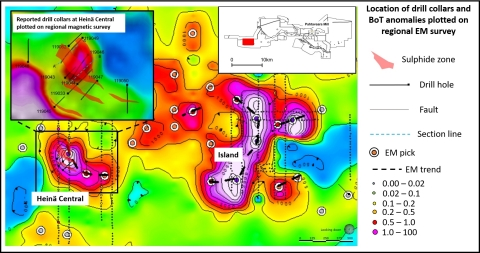 Location of drill collars and BoT anomalies plotted on regional EM survey (Photo: Business Wire)