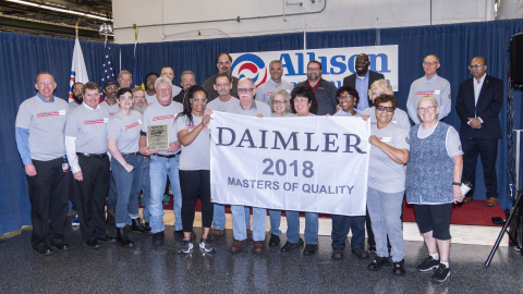 Allison employees are proud to welcome DTNA representatives as they recognize the company with a 2018 Masters of Quality Supplier Award. (Photo: Business Wire)