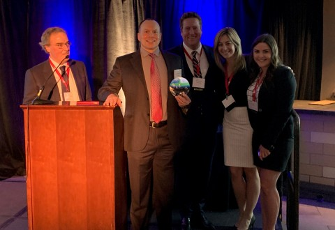 Everbridge CEO David Meredith and team accept 'Growth Company of the Year' award from the Massachusetts Technology Leadership Council (Photo: Business Wire)