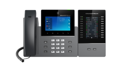 Grandstream's New GXV3350 Android IP Video Phone and GBX20 Extension Module (Photo: Business Wire)
