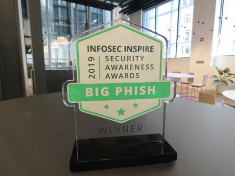 Big Phish Award trophy. A Concord Technologies representative was unable to attend the ceremony. Photo courtesy Infosec.