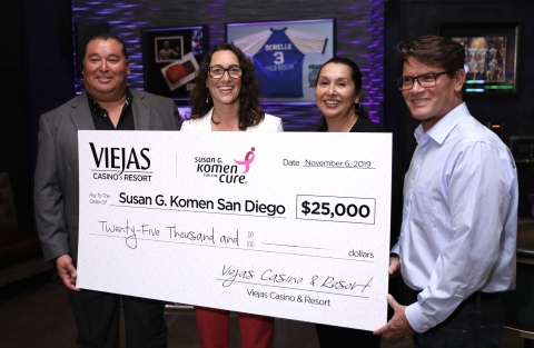 Viejas presents $25,000 donation to Susan G. Komen San Diego. (Photo: Business Wire)