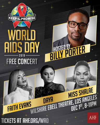 Primetime Emmy Award-winner, Billy Porter, will host a Los Angeles concert at the Wilshire Ebell Theatre with Grammy award-winner Faith Evans, singer/songwriter, Daya and entertainer Miss Shalae on December 1st (Graphic: Business Wire)