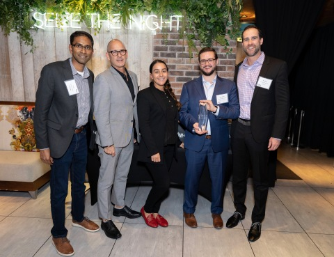 From Left to Right: Vid Sukumar, Signifyd; Bobby Graziose, Liz Stohl, and Dan Keebler of Corra; and Skye Spear, Signifyd (Photo: Business Wire)