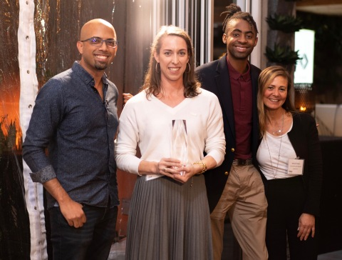 From right to left, Indy Guha, Signifyd; Kaitlin Moughty, Khari Battle, and Rossana D' Angelo, Lacoste (Photo: Business Wire)