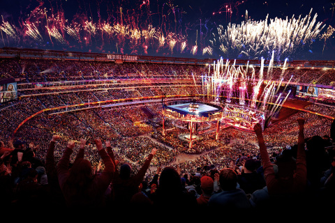 Aerial image of WrestleMania 35 at MetLife Stadium in East Rutherford, New Jersey (Photo: Business Wire)