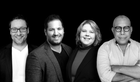From left to right: Curtis Gavura, President, CPO and Co-Founder, Basil Bouraropoulos, Chief Executive Officer and Co-Founder, Carolina Bessega, PhD, Chief Scientific Officer and Co-Founder, Jaime Camacaro, PhD, Chief Innovation Officer and Co-Founder. (Photo: Business Wire)