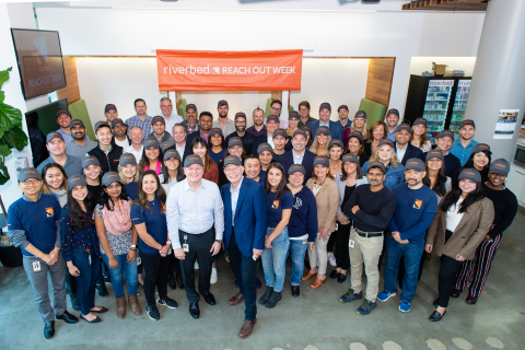 Riverbed kicks off REACH OUT annual week-long community service effort with Paul Ash, Executive Director at San Francisco-Marin Food Bank (Photo: Business Wire)