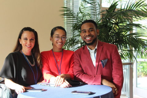 Since 2015, Corvias Foundation has provided select scholars with attendance and travel costs for the Lead365 National Conference. Pictured above are three such scholars who attended the conference in 2017: Cristi Rader (left), Lahela Daniels (center), and Gerald Doe (right). (Photo: Business Wire)