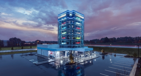 Memphis is now home to Carvana's 23rd Car Vending Machine. The all-glass tower stands 8 stories high and holds up to 27 vehicles. (Photo: Business Wire)