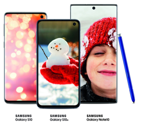 Samsung Galaxy S10, Samsung Galaxy S10e, Samsung Galaxy Note10 (Photo: Business Wire)