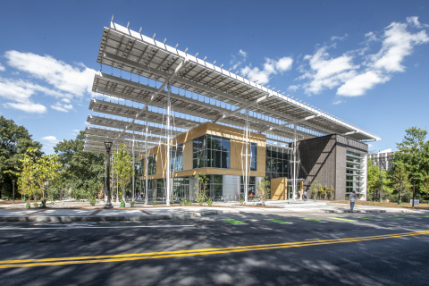 The Kendeda Building for Innovative Sustainable Design on the campus of Georgia Tech in Atlanta, GA. (Photo credit: Justin Chan Photography)