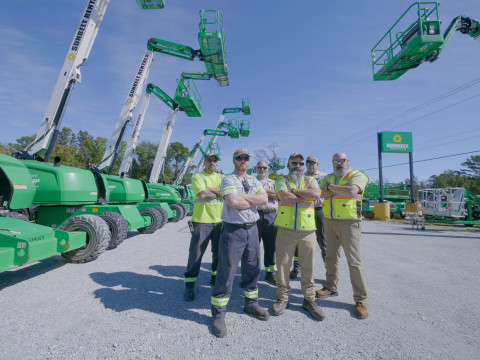The current staff at the Sunbelt Rentals Jacksonville, N.C., location includes six Marine Corps and Army veterans who have a combined military service of nearly 100 years. (L-R) Andrew Raynor, Billy Hurley, Ferlin McClanahan, Steven McNeill, Michael Cuntapay, and Michael Plummer. (Photo: Sunbelt Rentals)